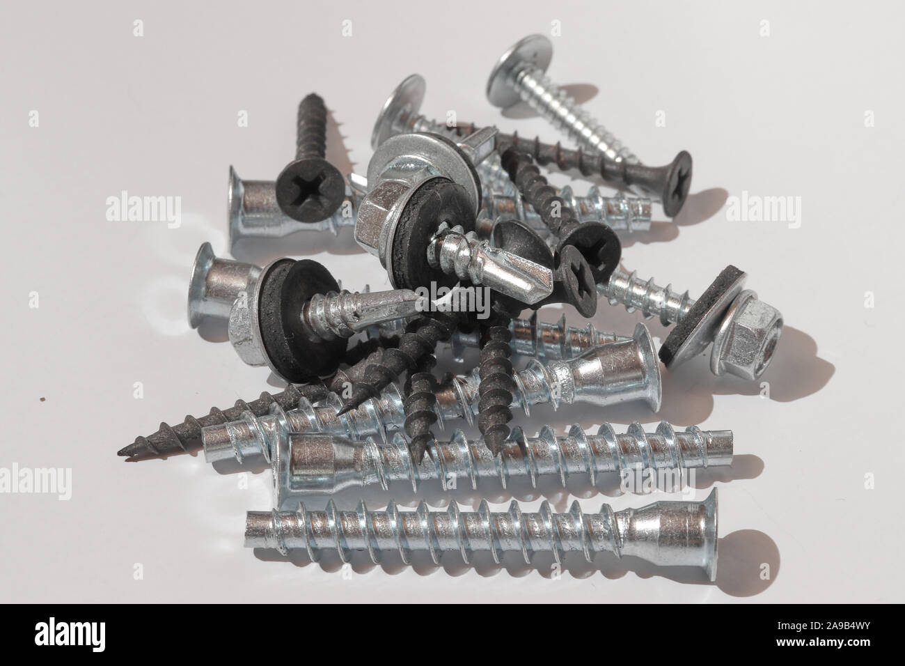 galvanized screws and screws for repair work Stock Photo