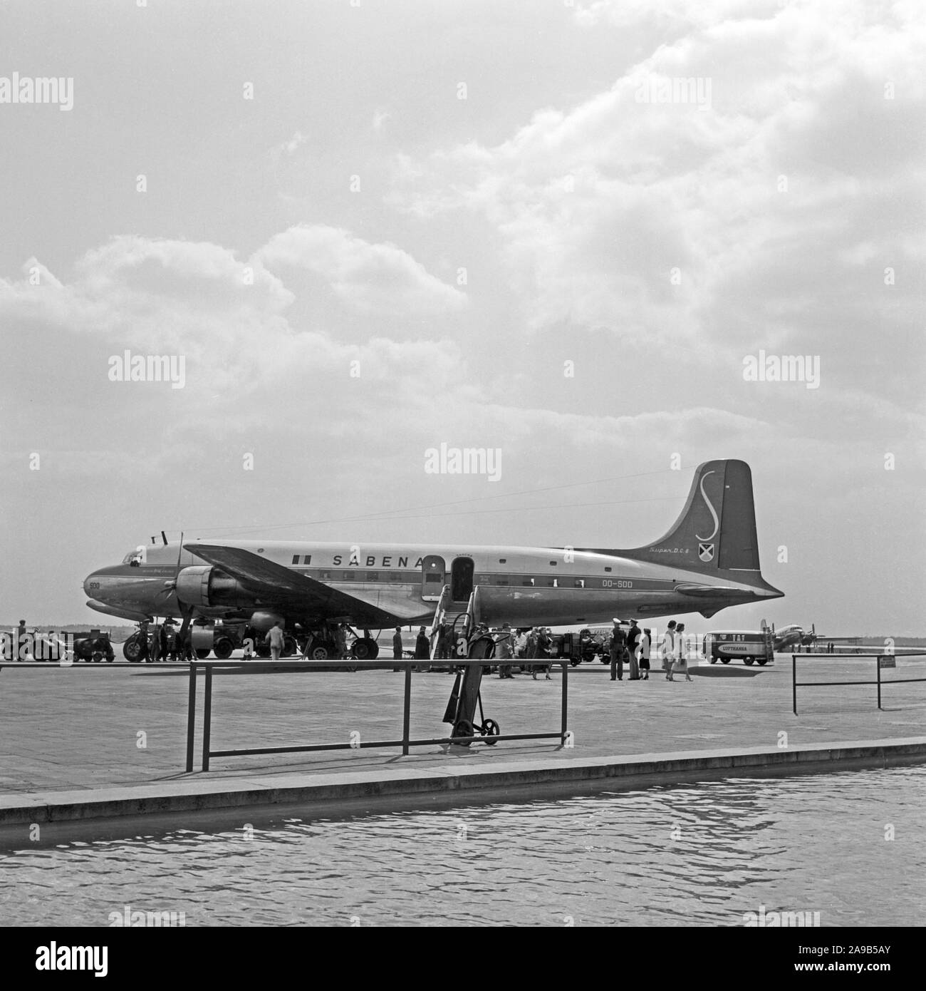 Plane of Belgian airline Sabena on the airfield of Frankfurt airport, Germany 1959 Stock Photo