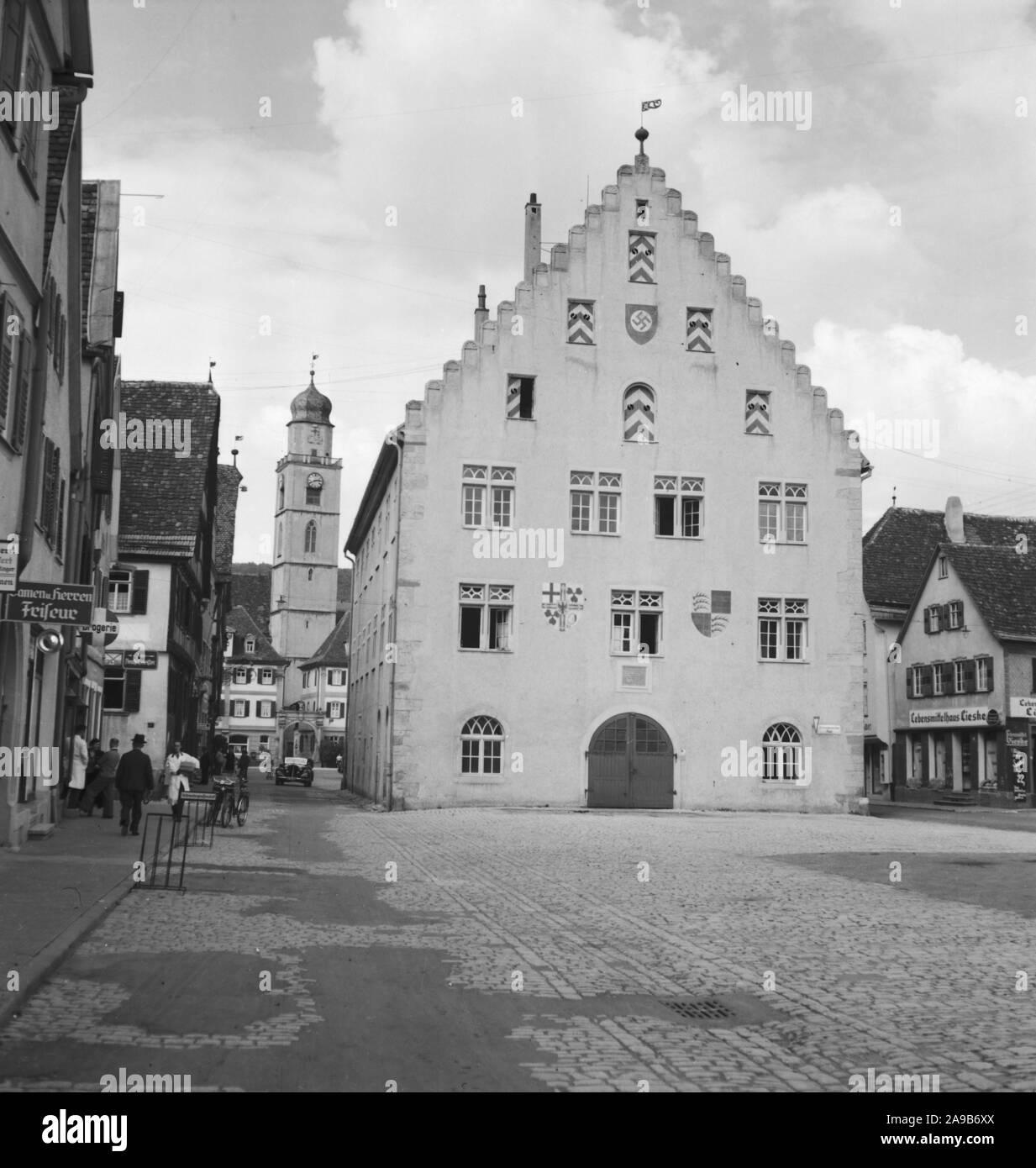 City hall near main market with minster St. John Baptist at the city of Bad Mergentheim, Germany 1930s. Stock Photo