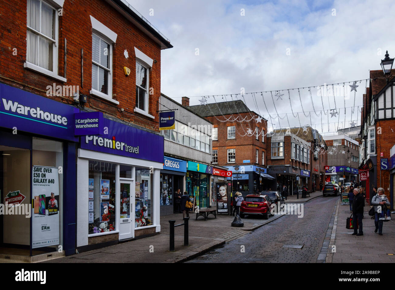 Bishops Stortford Town Centre High Street, Hertfordshire, England, UK, GB Stock Photo