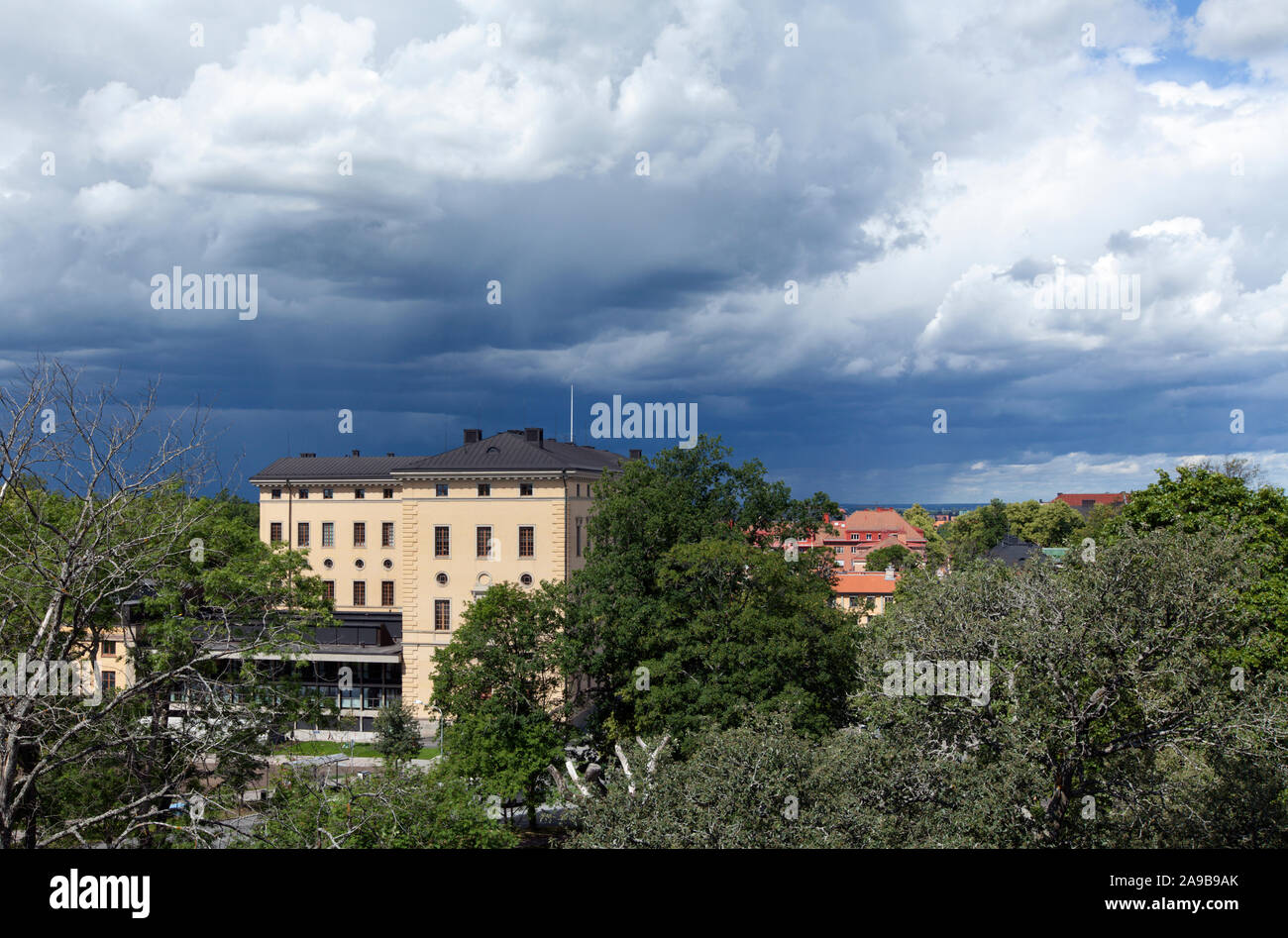 View of the main building of the Uppsala University Library, Carolina Rediviva. From the Castle. Stock Photo