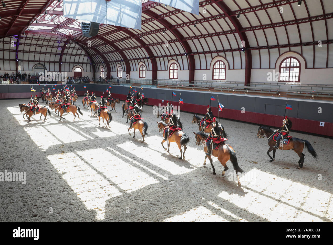 MANIFESTATION OF REGIMENT OF CAVALRY OF REPUBLICAN GUARD AT THE CELESTINS BARRACKS Stock Photo