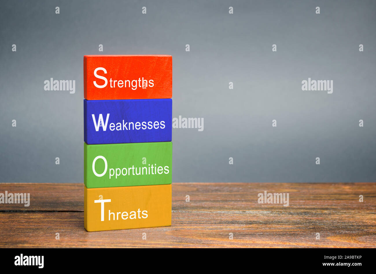 SWOT analysis concept. The method of strategic business planning. Strengths, weaknesses, opportunities, threats. Business competition or project plann Stock Photo
