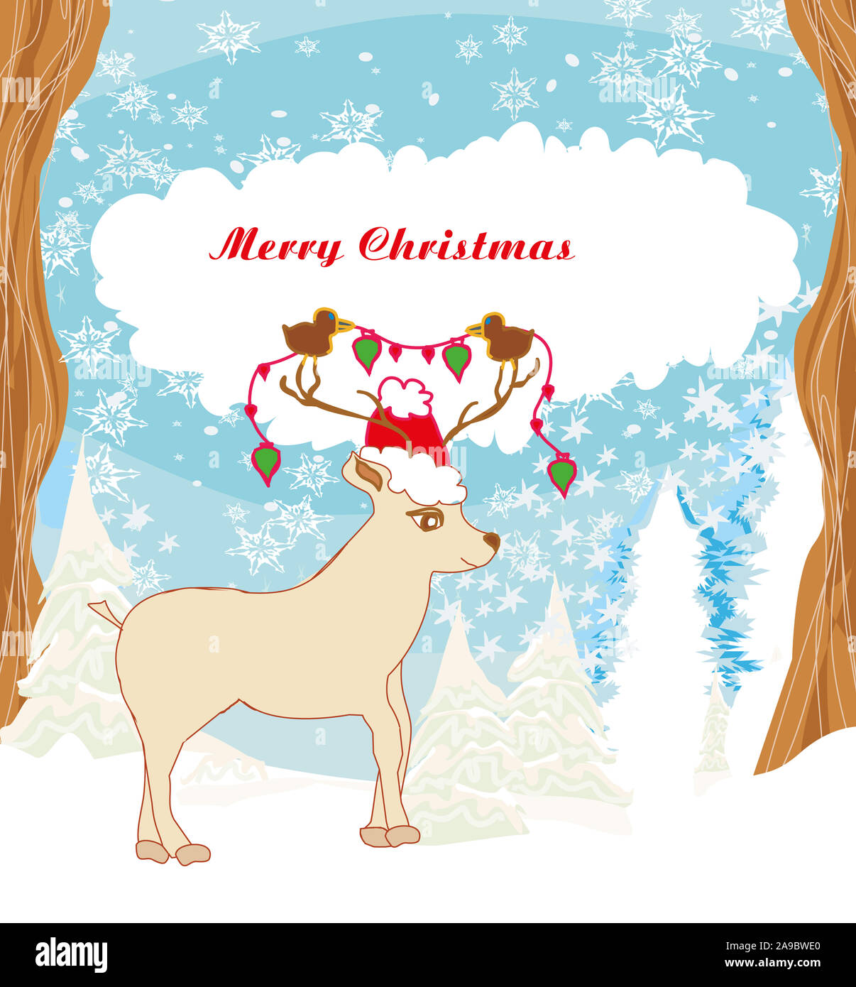 Abstract Christmas card with reindeer and birds Stock Photo