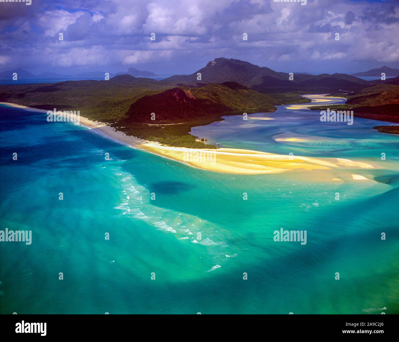 Cook Inlet tidal patterns, great Barrier Reef Marine Park, Queensland, Australia, whitsunday Islands, world's largest coral reefs Stock Photo
