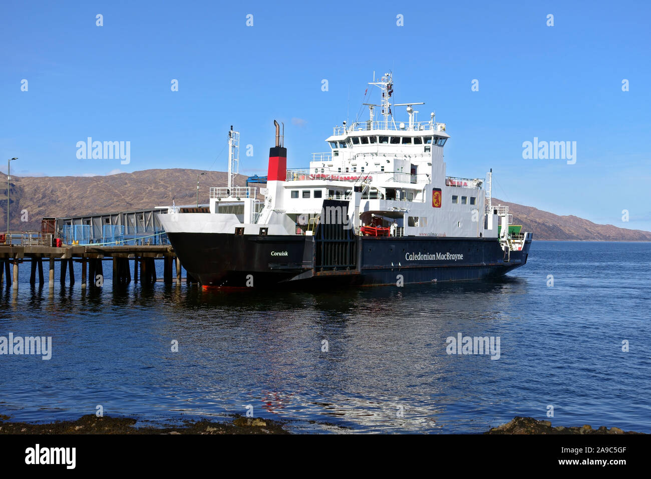 MV Coruisk, Calmac ferry, at Craignure ferry terminal on the Isle of Mull in the Inner Hebrides of Scotland Stock Photo
