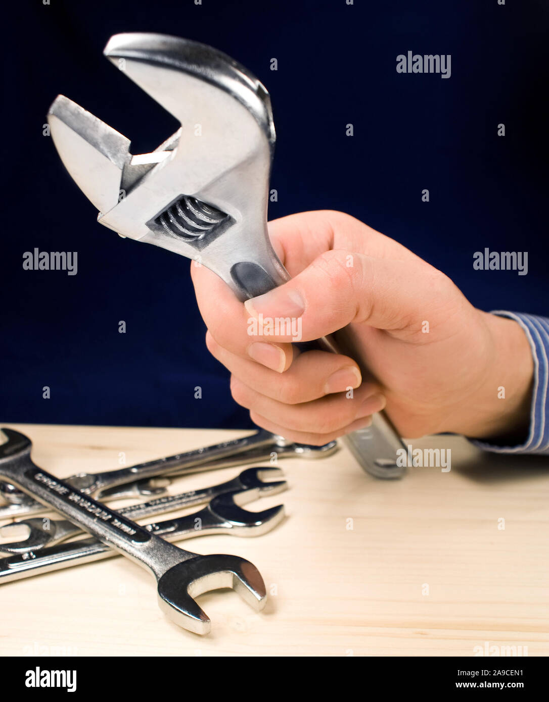 Male hand and tools Stock Photo
