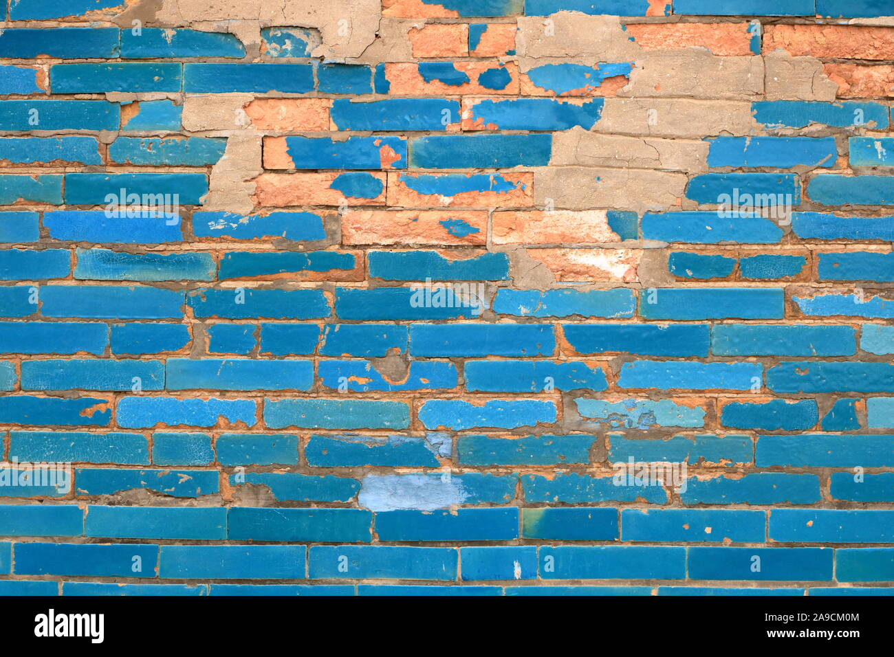 Turquoise Colored Brick Wall in Uzbekistan Background, Texture Pattern Stock Photo