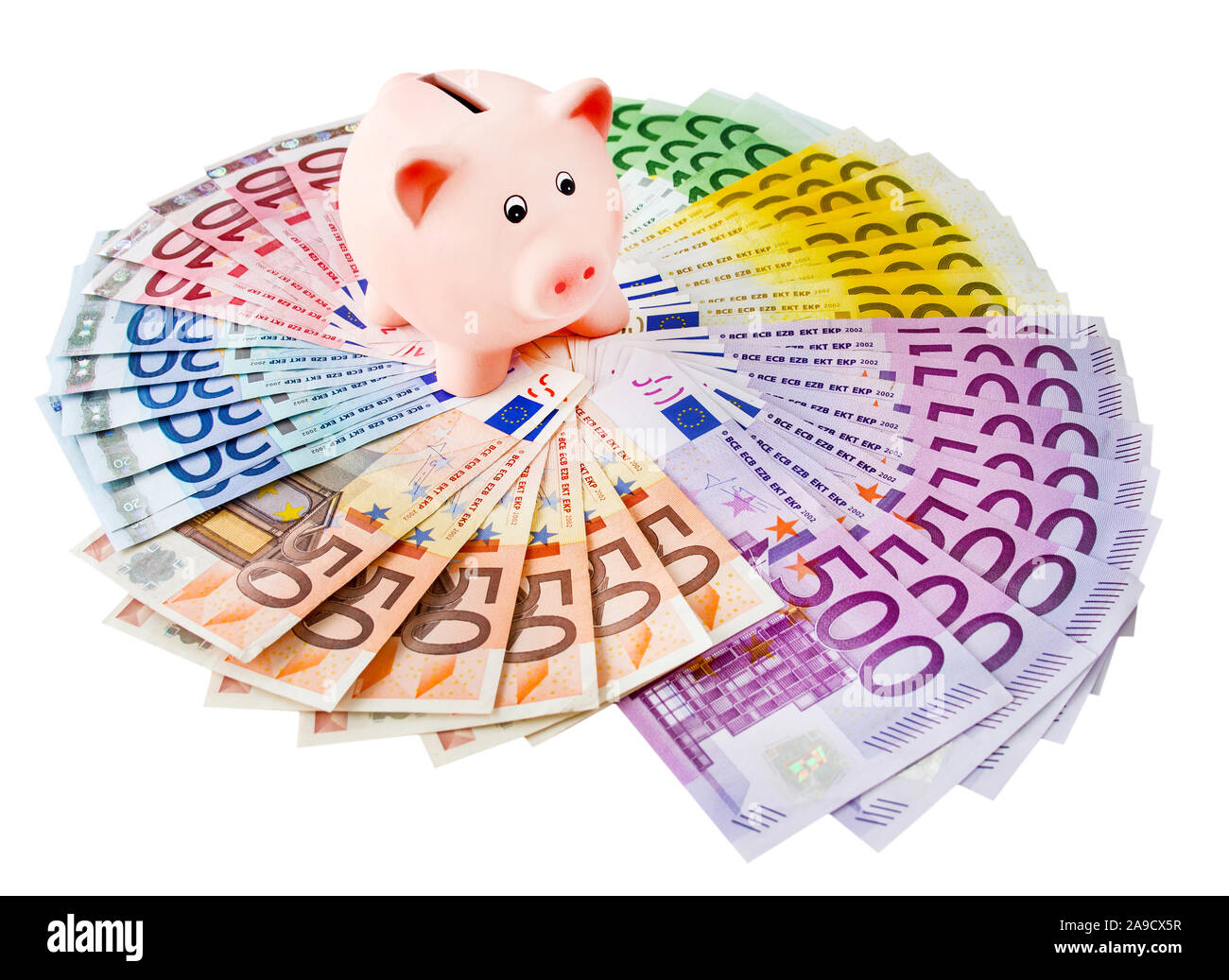 Euro and piggy bank against white background Stock Photo