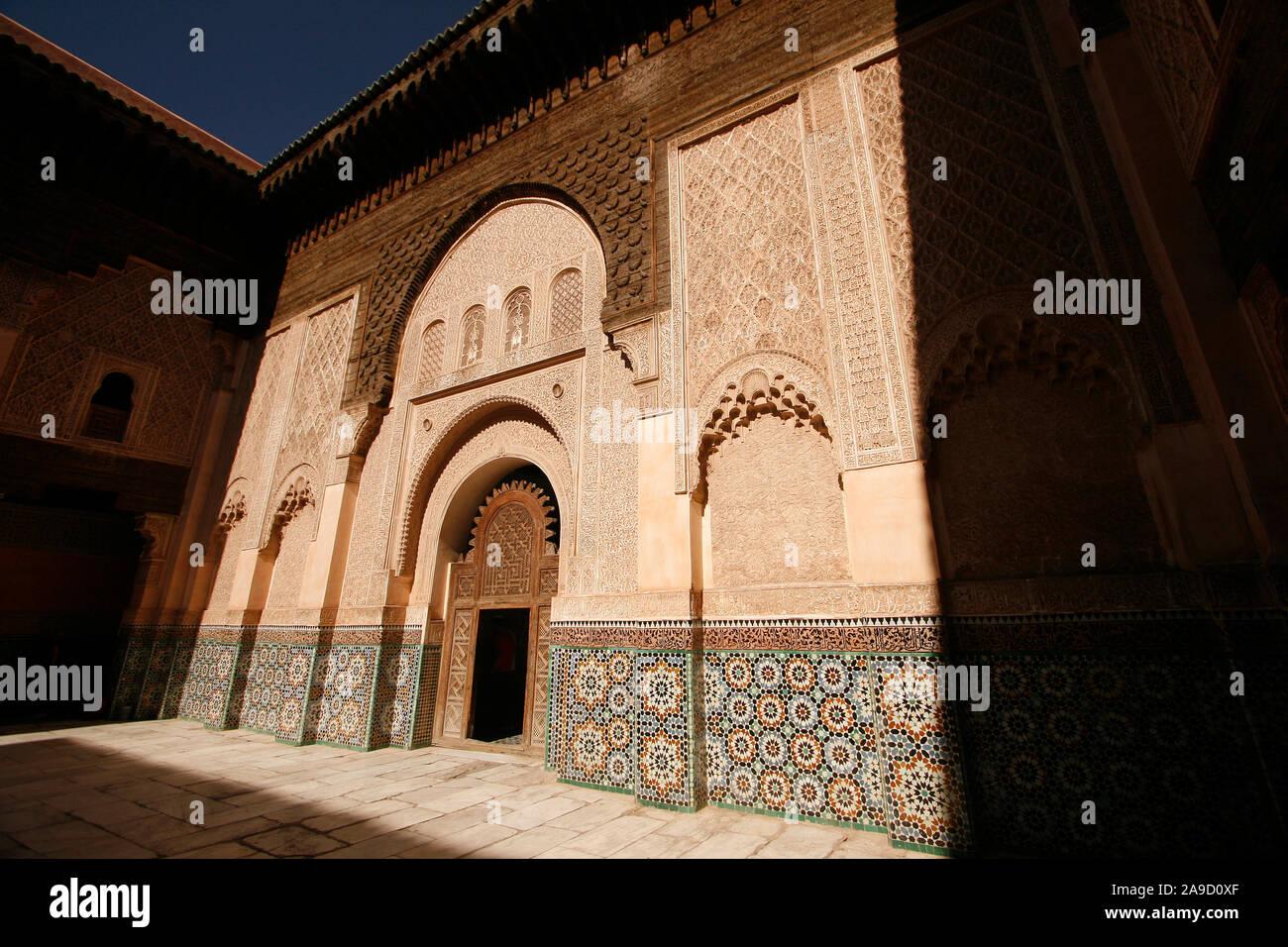 Courtyard of the Medersa Ben Youssef, Medina, Marrakech, Morocco Stock Photo
