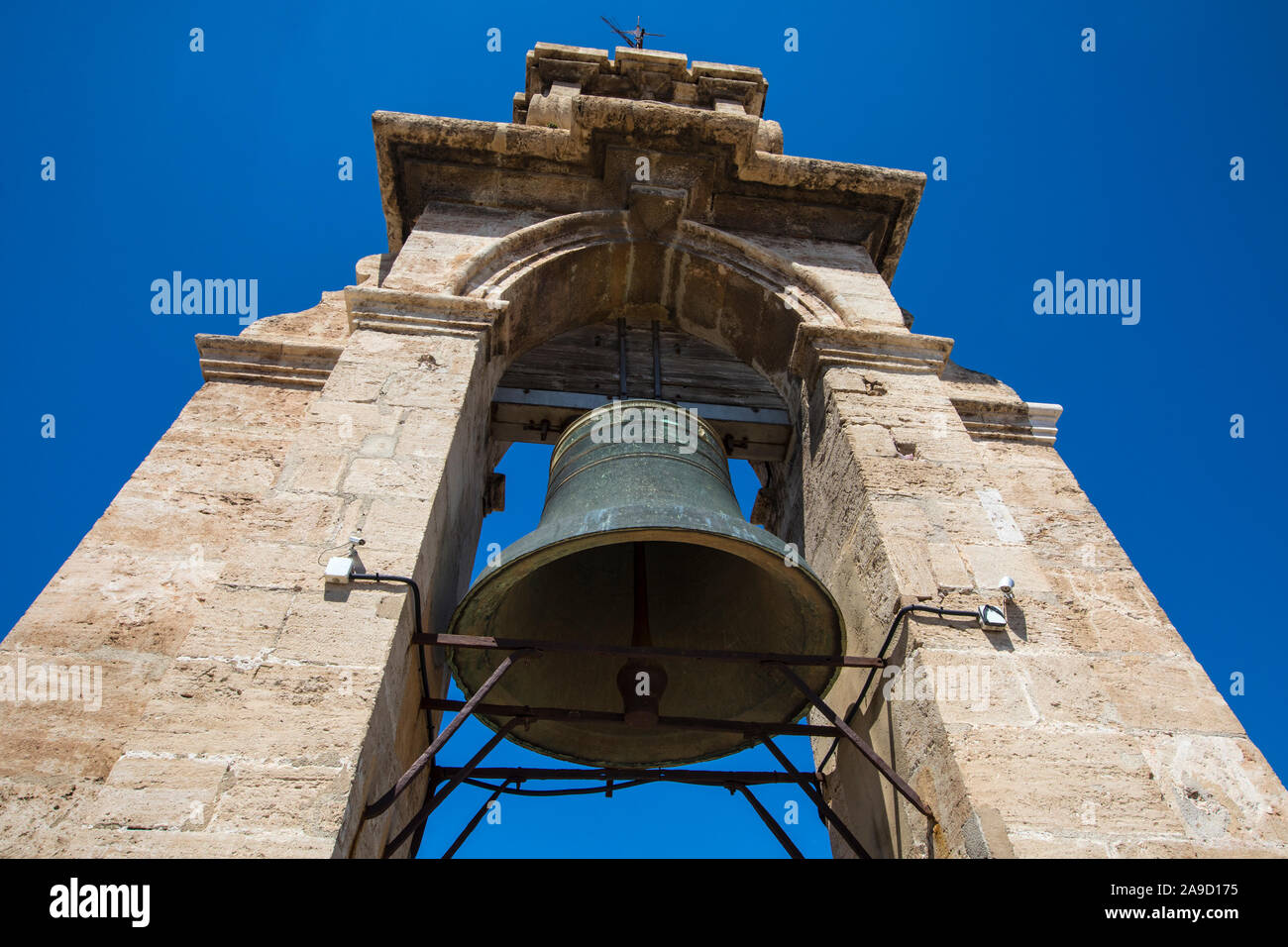 The bell of the historic Torre del Micalet, or El Miguelete - the bell tower of Valencia Cathedral in Spain. Stock Photo
