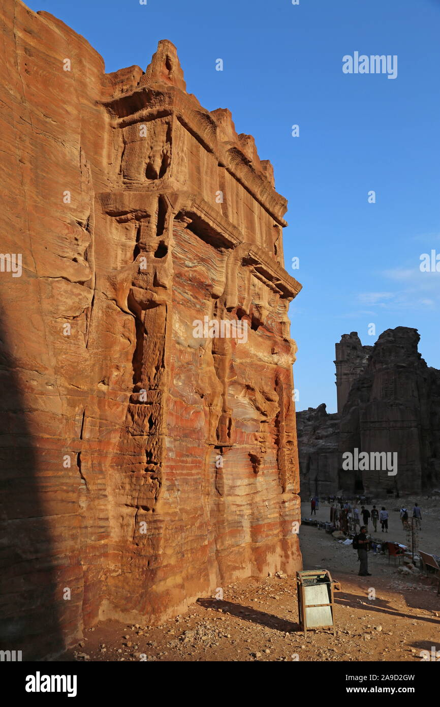 Street of Facades, Petra, Wadi Musa, Ma'an Governorate, Jordan, Middle East Stock Photo