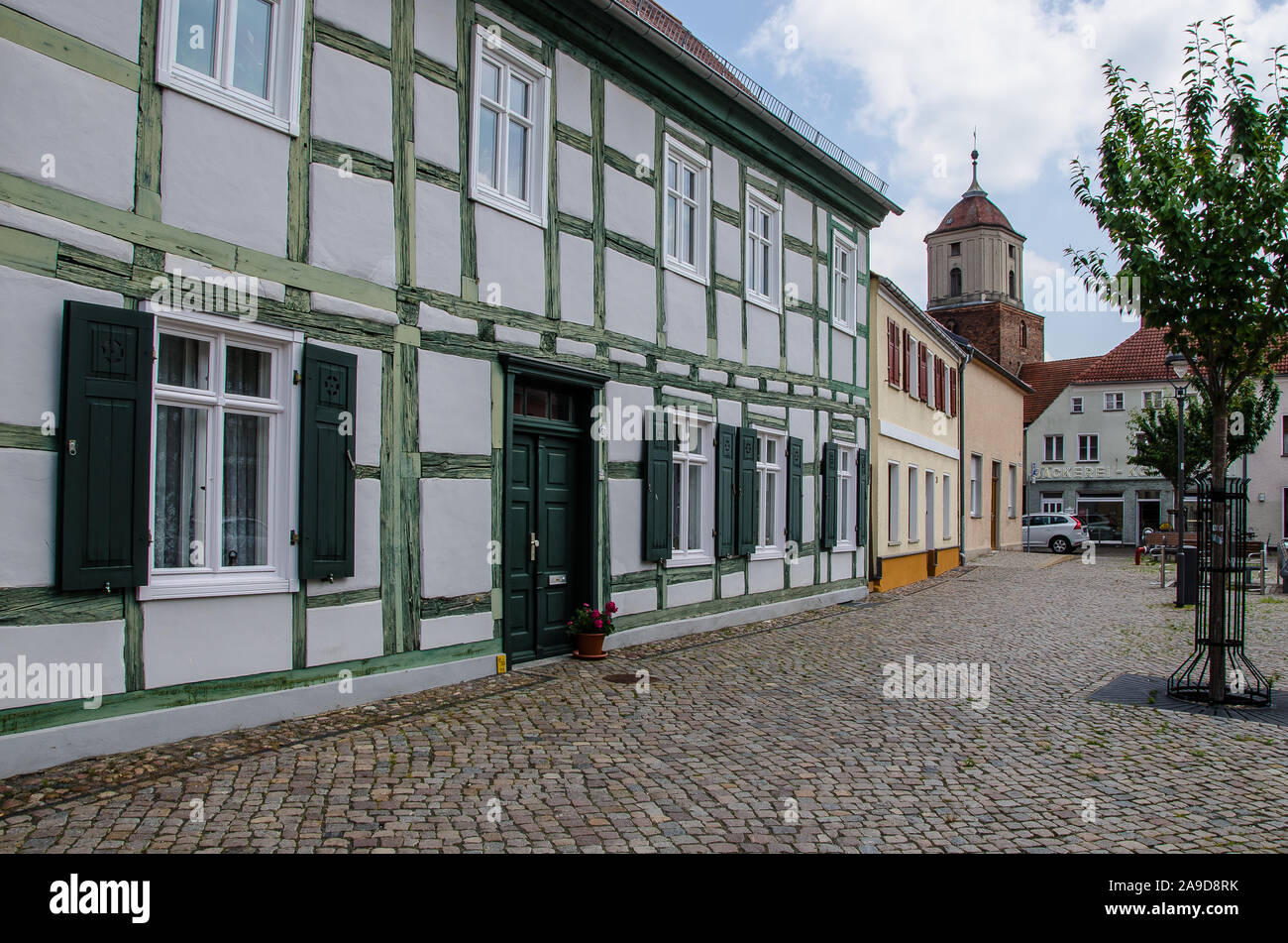 "The idyllic town of Treuenbrietzen, with its medieval town Centre, is situated in the northern edge of the glacial land ridge called ""Niederer Fläming Stock Photo"