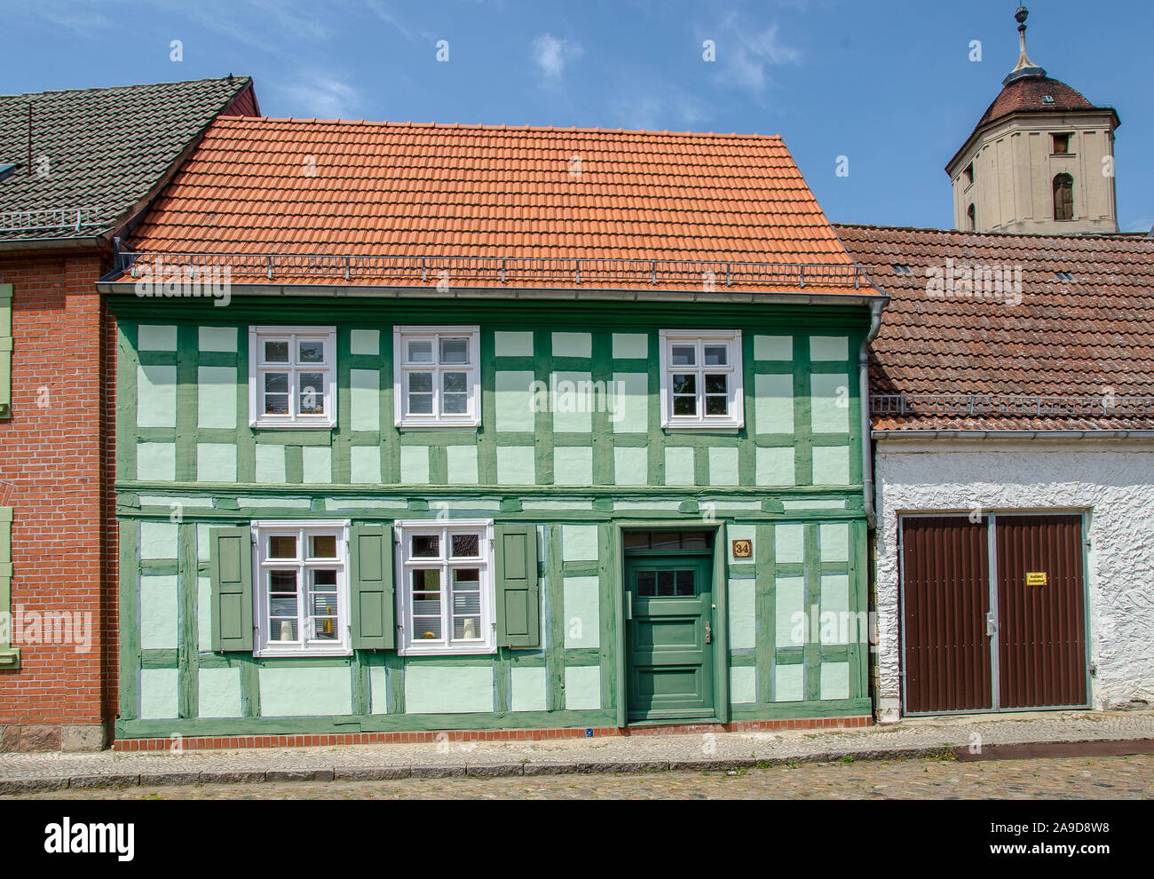"""The idyllic town of Treuenbrietzen, with its medieval town Centre, is situated in the northern edge of the glacial land ridge called """"Niederer Fläming Stock Photo"""