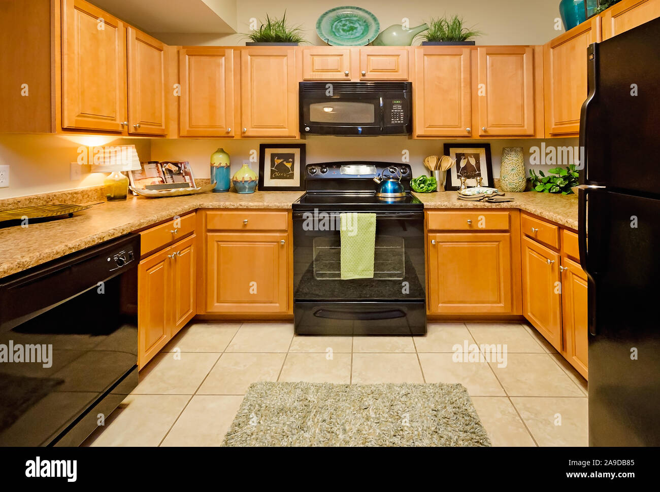 The Kitchen Features Granite Countertops Electric Appliances And Wood Cabinets At Cypress Cove Apartment Homes In Mobile Alabama Stock Photo Alamy