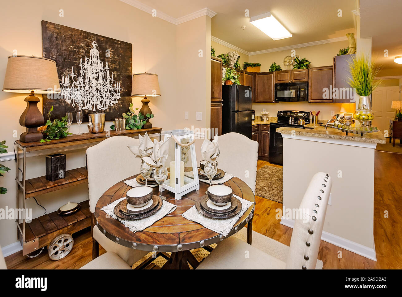 An Open Floor Plan Offers A View From The Dining Room To The Kitchen At Cypress Cove Apartment Homes In Mobile Alabama Stock Photo Alamy