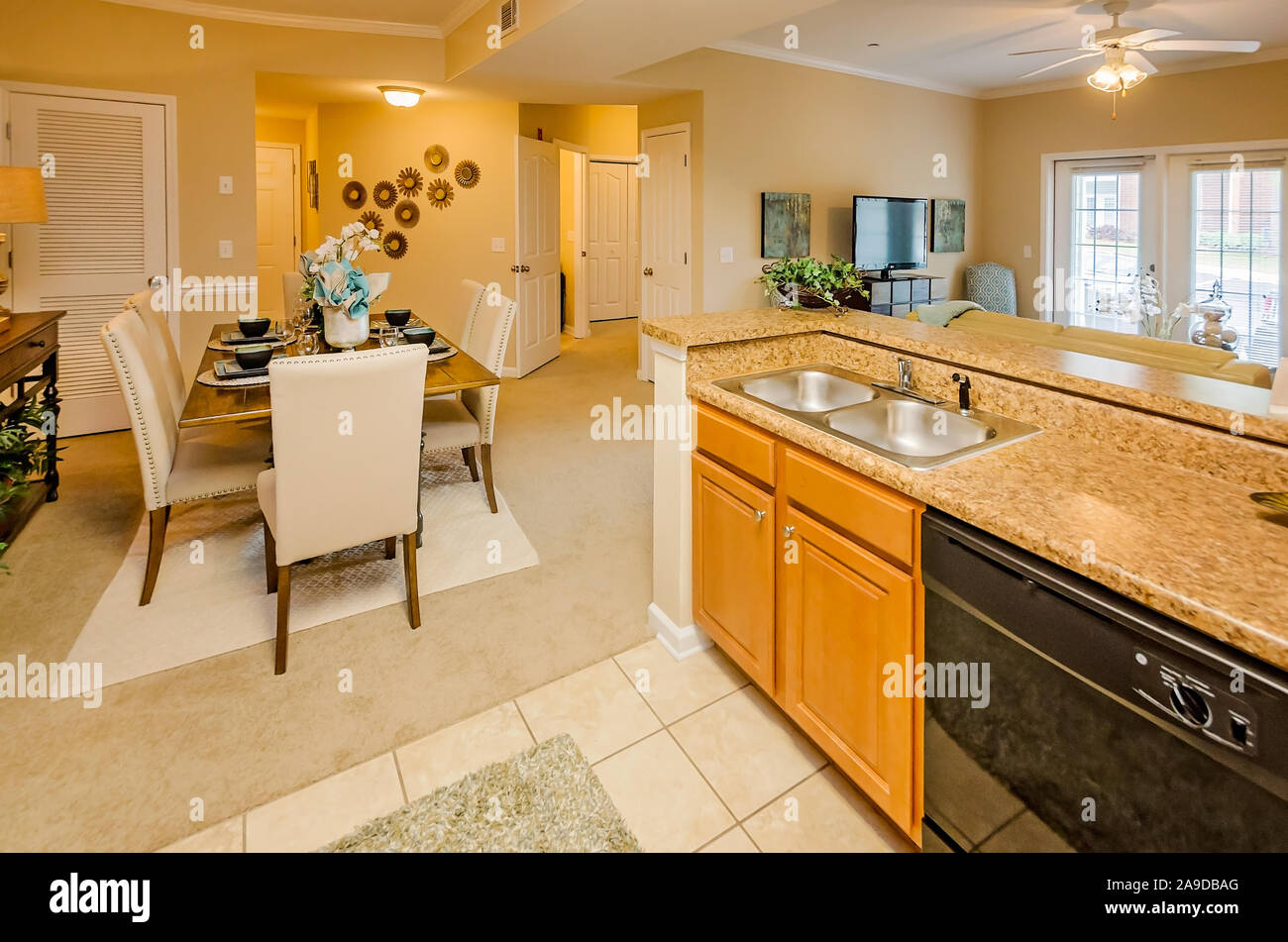 An Open Floor Plan Offers A View From The Kitchen To The Dining Room Living Room And Foyer At Cypress Cove Apartment Homes In Mobile Alabama Stock Photo Alamy