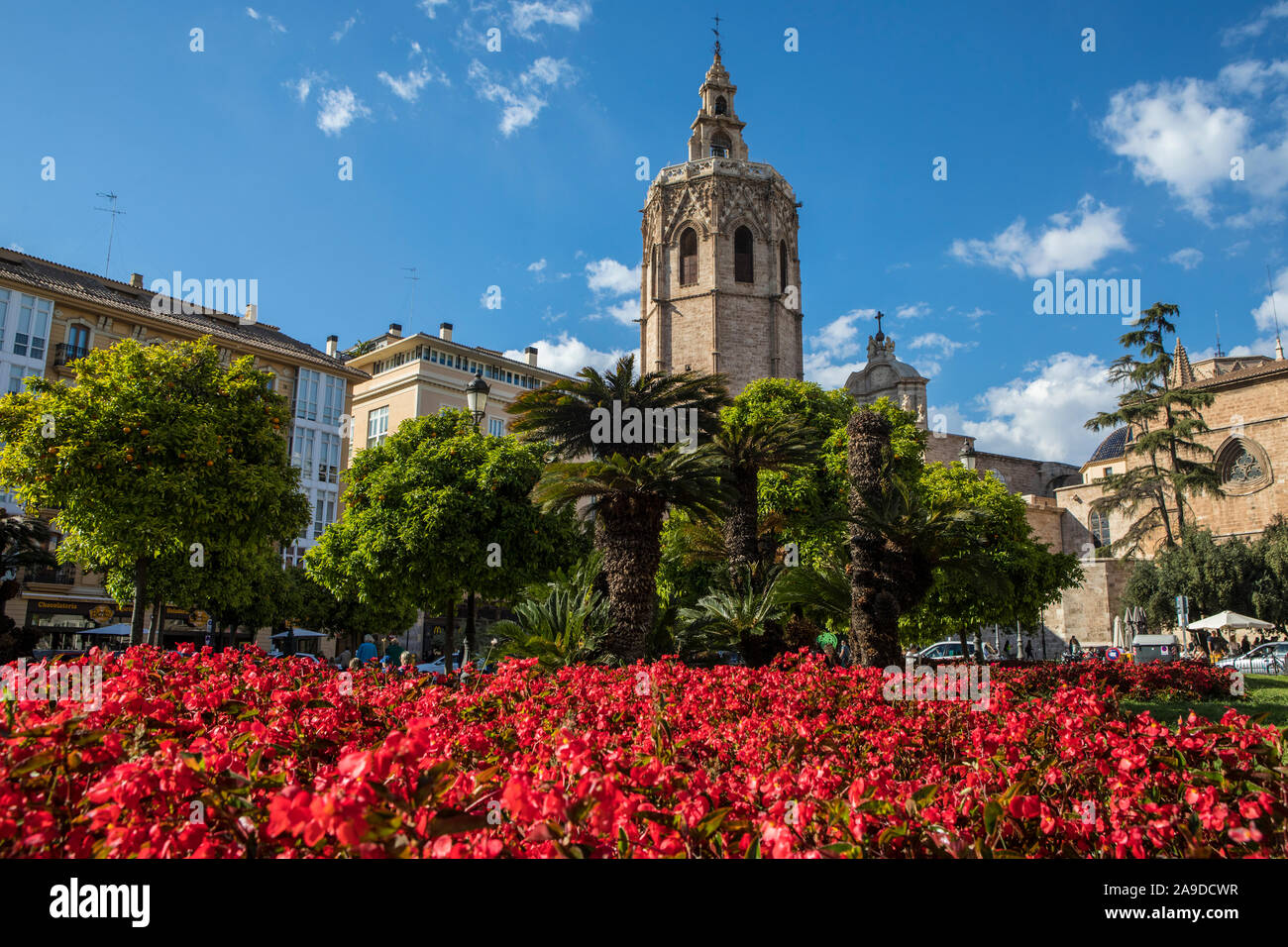 Valencia, Spain - April 11th 2019: A beautiful view of Torre del Micalet, also known as El Miguelete, the bell tower of Valencia Cathedral, in the his Stock Photo