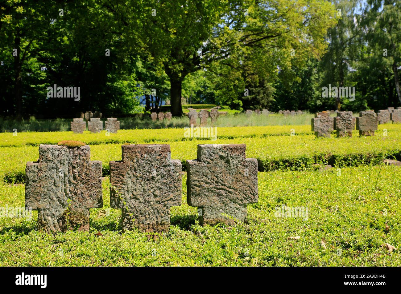 Military Cemetery at the Klause on the Kasteler Plateau in Kastel-Staadt, Saar Valley, Rhineland-Palatinate, Germany Stock Photo