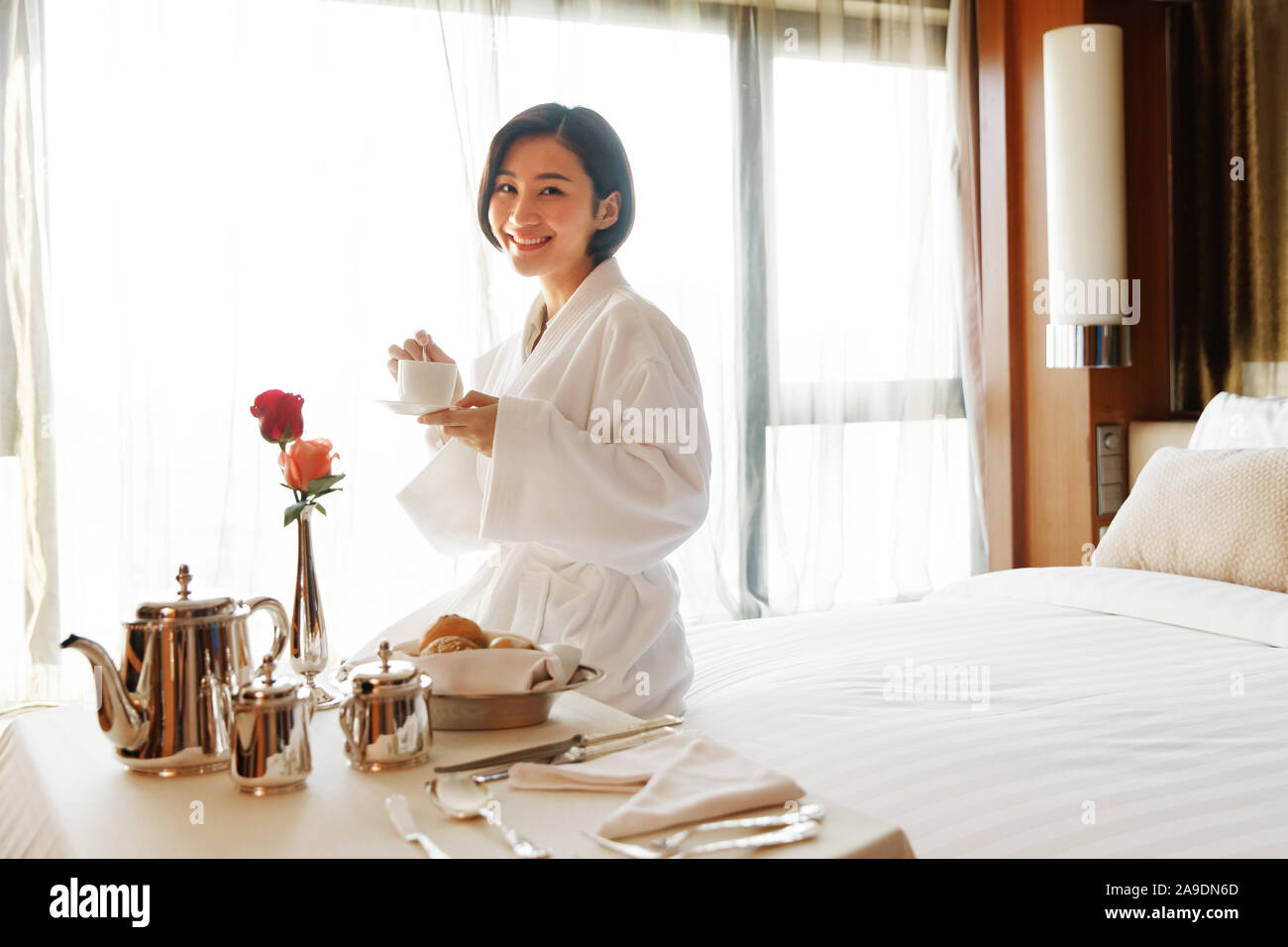 The Young Woman In A Hotel Room For Coffee Stock Photo Alamy