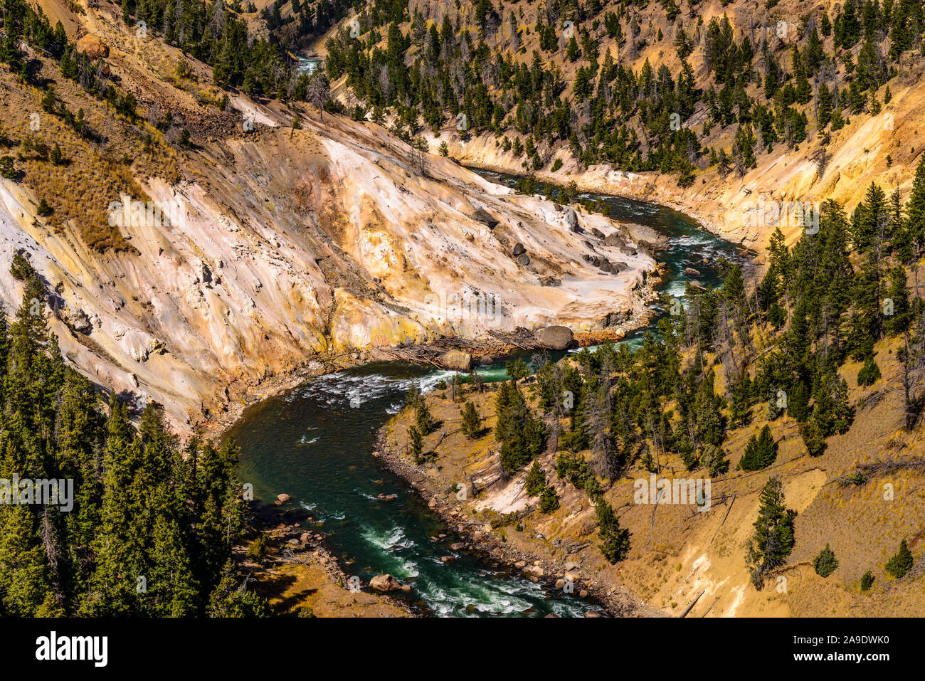 Usa Wyoming Yellowstone National Park Tower Roosevelt Yellowstone River Calcite Springs Stock Photo Alamy