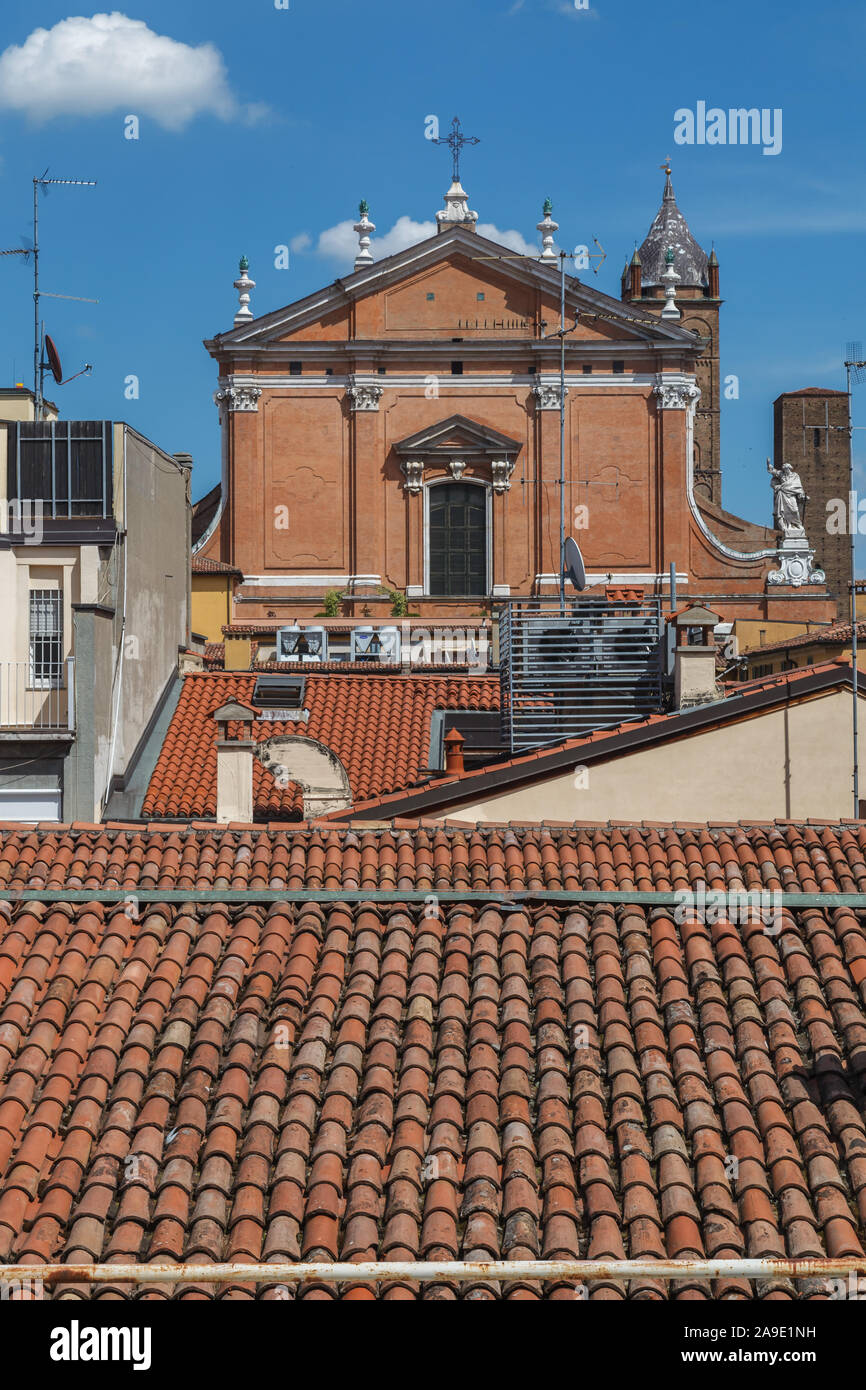 Above the roofs of Bologna, Emilia Romagna, Italy, Europe, Stock Photo