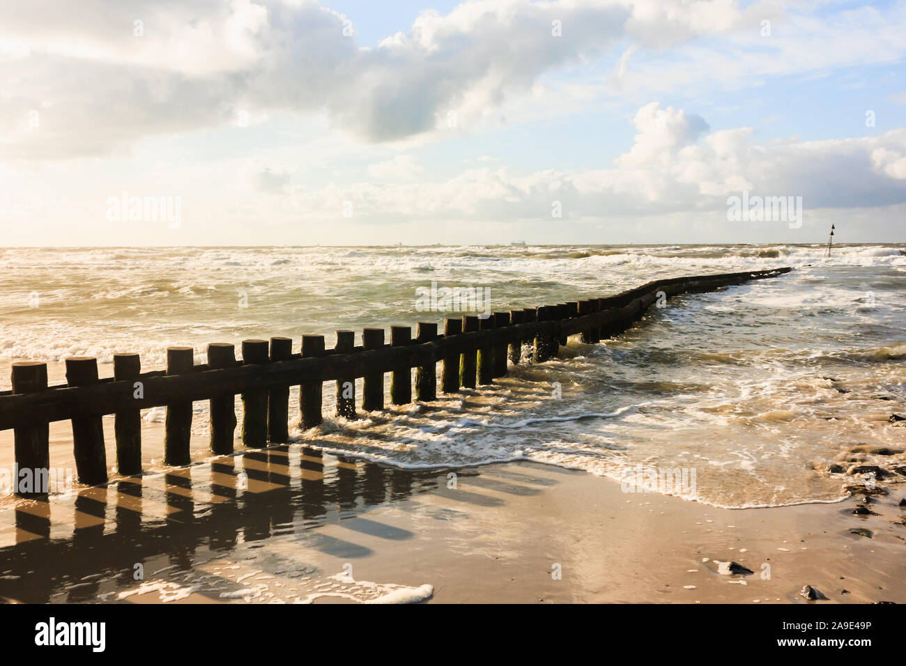 Breakwaters and coastal defence on the North Sea coast of the island Wangerooge, Stock Photo