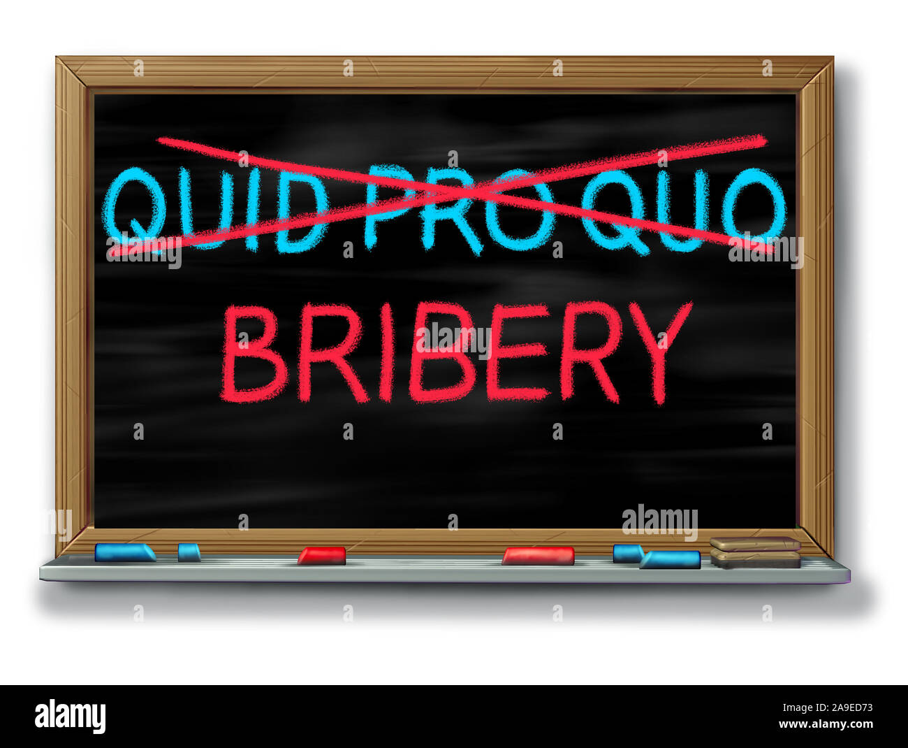 Bribery and political corruption as politics with quid pro quo replaced with another word as an unethical political action in giving something. Stock Photo