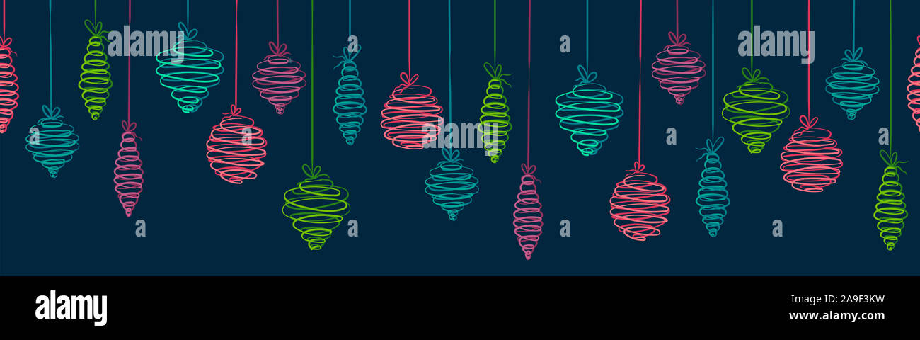 Fun hand drawn christmas baubles horizontal seamless - hanging christmas decoration - great for banners, wallpapers, wrapping, background, vector desi Stock Photo