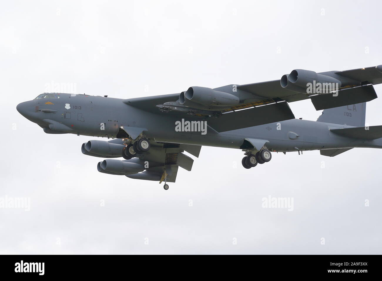 Eight-engine Boeing B-52 Stratofortress strategic bomber returning from a training mission at RAF Fairford, UK Stock Photo