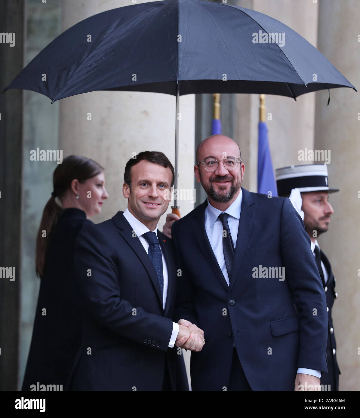 Paris France 15th Nov 2019 French President Emmanuel Macron Welcomes Belgian Prime Minister And European Council President Elect Charles Michel Before A Meeting At The Elysee Presidential Palace In Paris France Nov 15