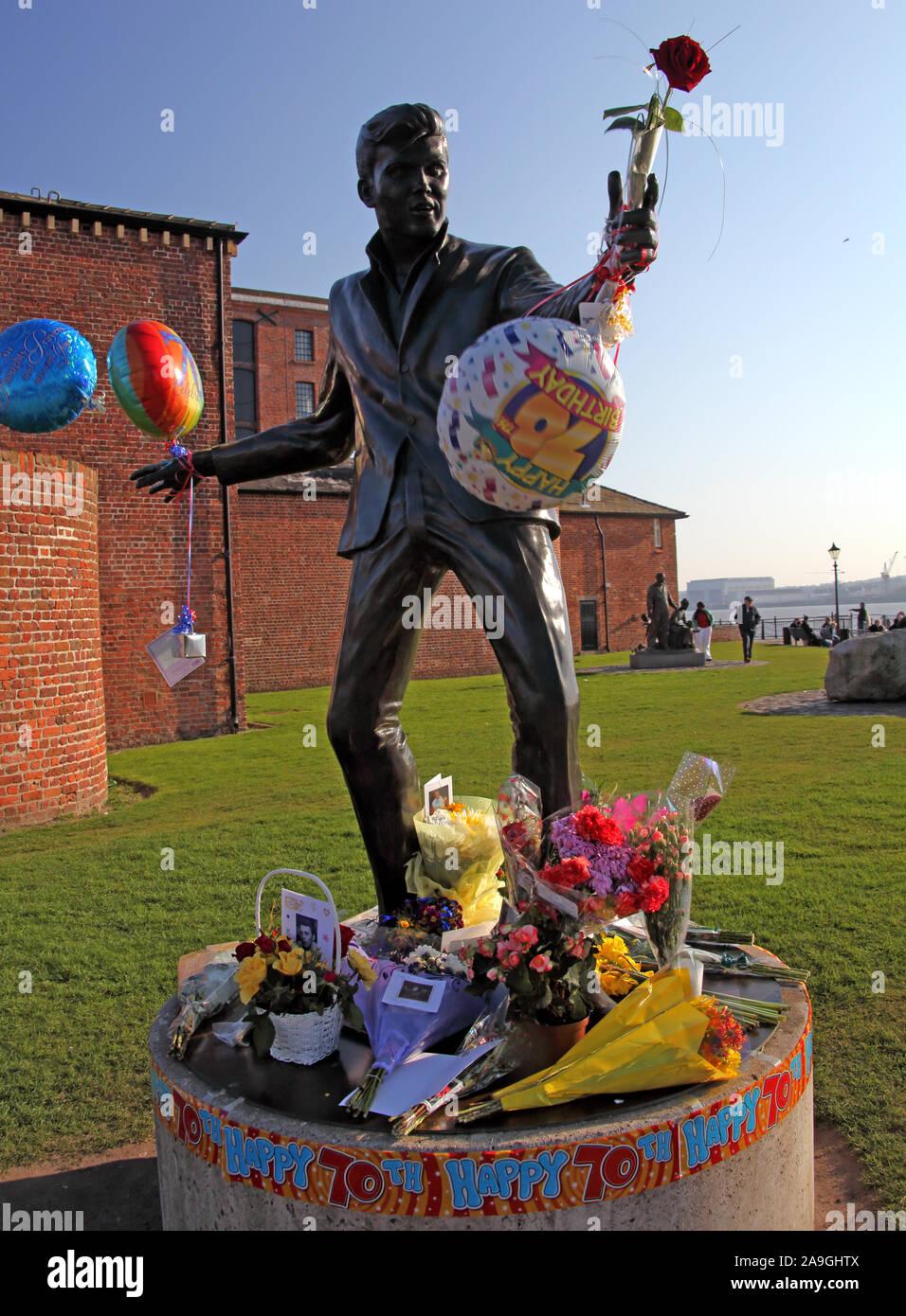 Billy Fury statue, 70 years old anniversary,musician,Albert Dock, Liverpool, England, UK, L3 4BB Stock Photo