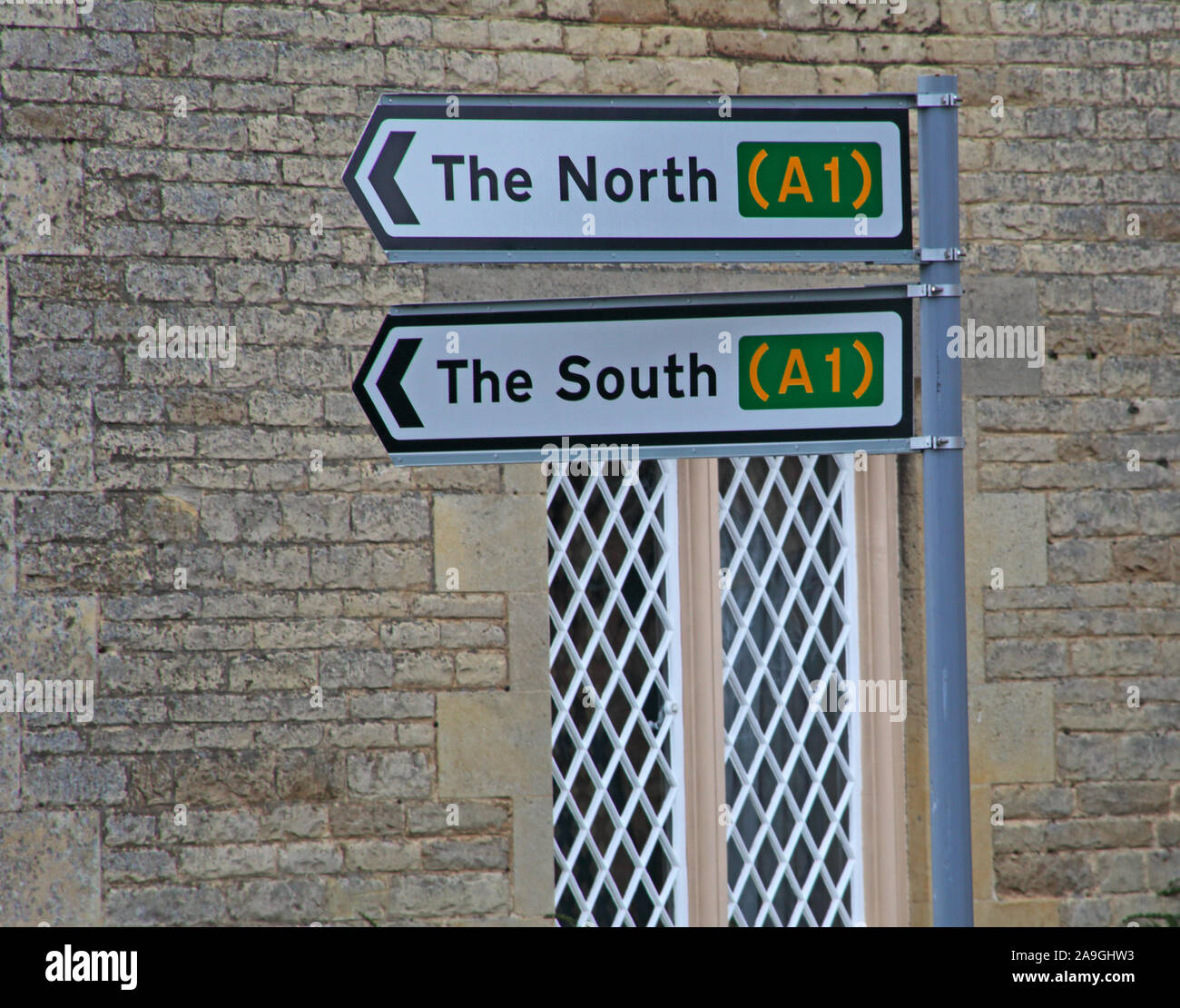 The North, The South signs, A1, which way now Stock Photo