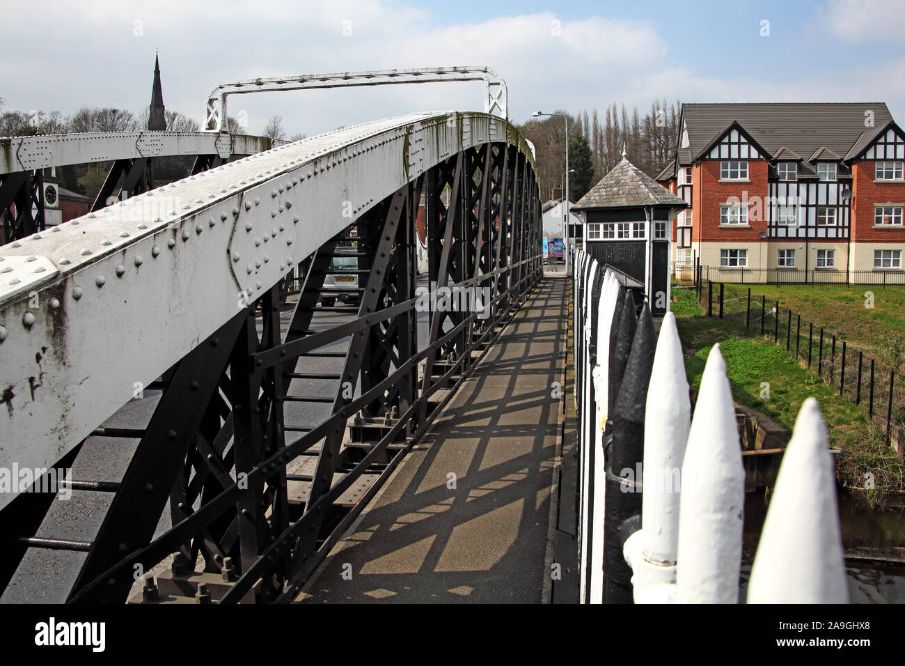 Footway over Northwich Chester Way South Swing Bridge over the River Weaver, Cheshire, North West England, UK, CW8 1AL Stock Photo