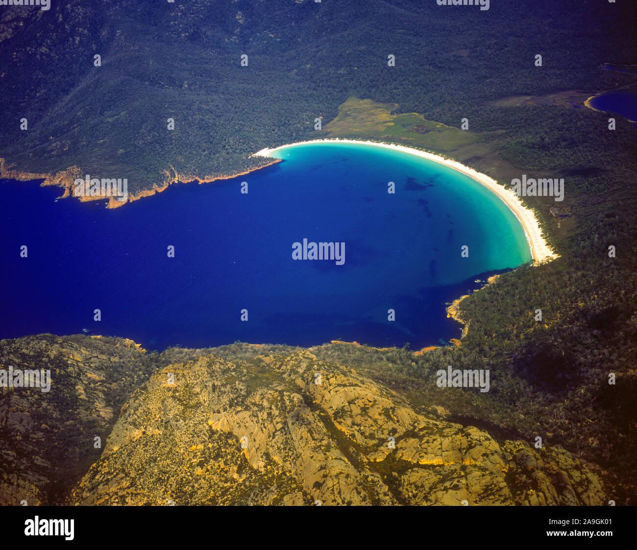 Winegalss Bay View, Freycinet National Park, Tasmania, Australia, Aerial View, Stock Photo