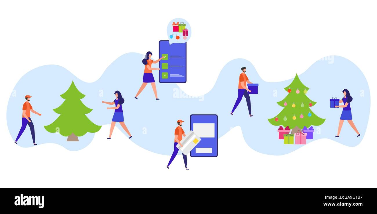 Preparing For Christmas Holidays 2020 Happy new year 2020, Merry Christmas Vector illustration People
