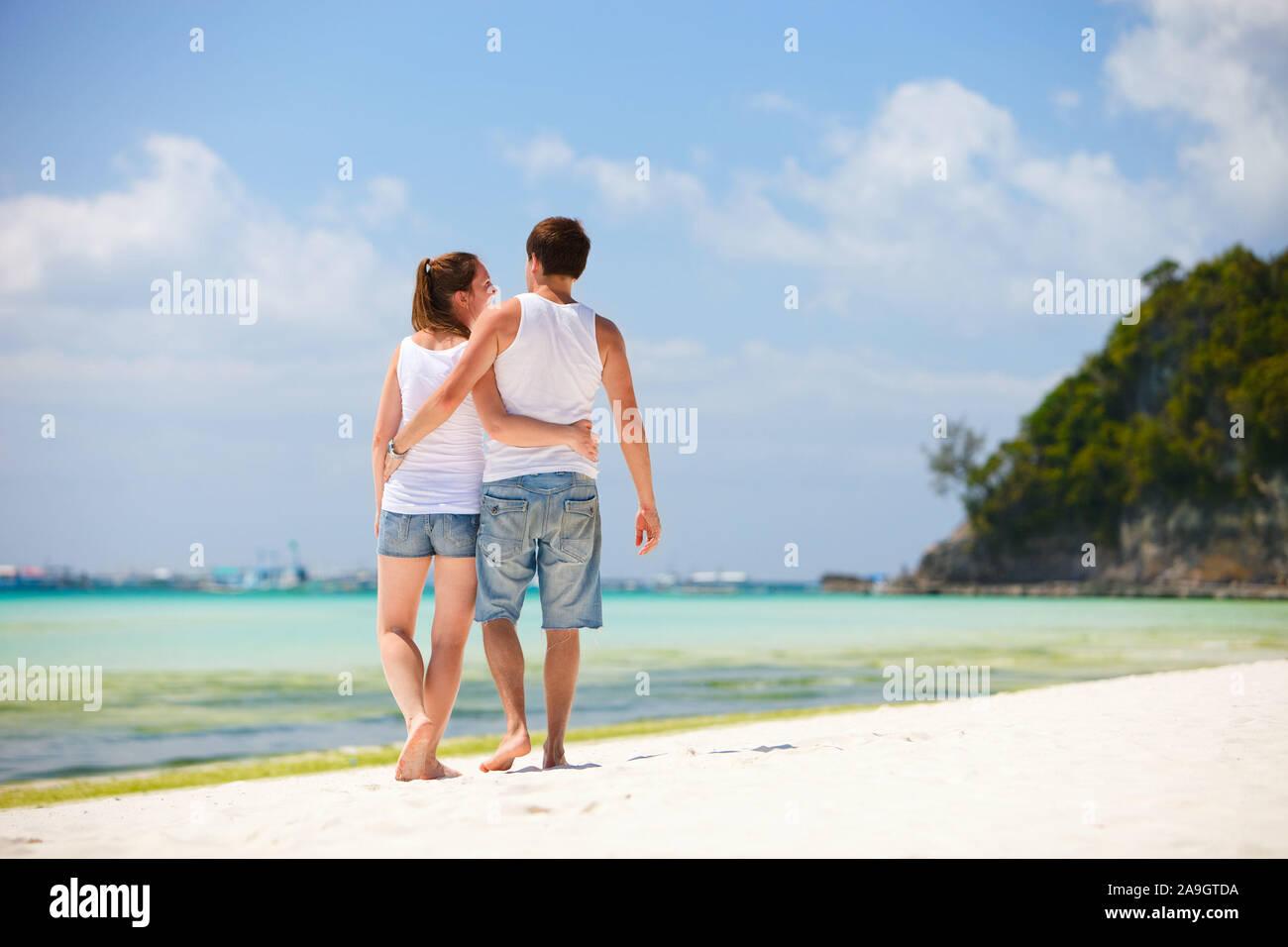 Boracay, Phillippinen, Insel, Familie am Strand Stock Photo