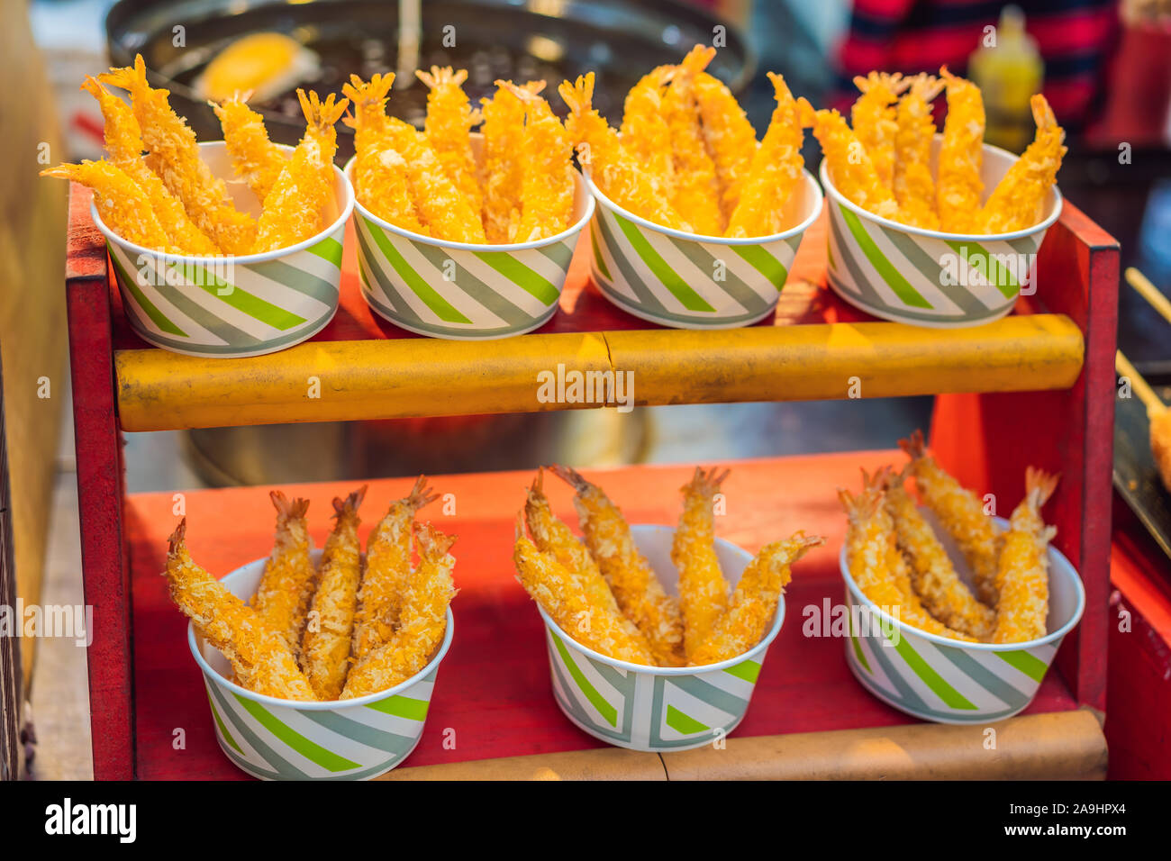 Typical Korean street food on a walking street of Seoul. Spicy fast food simply found at local Korean martket, Soul Korea Stock Photo