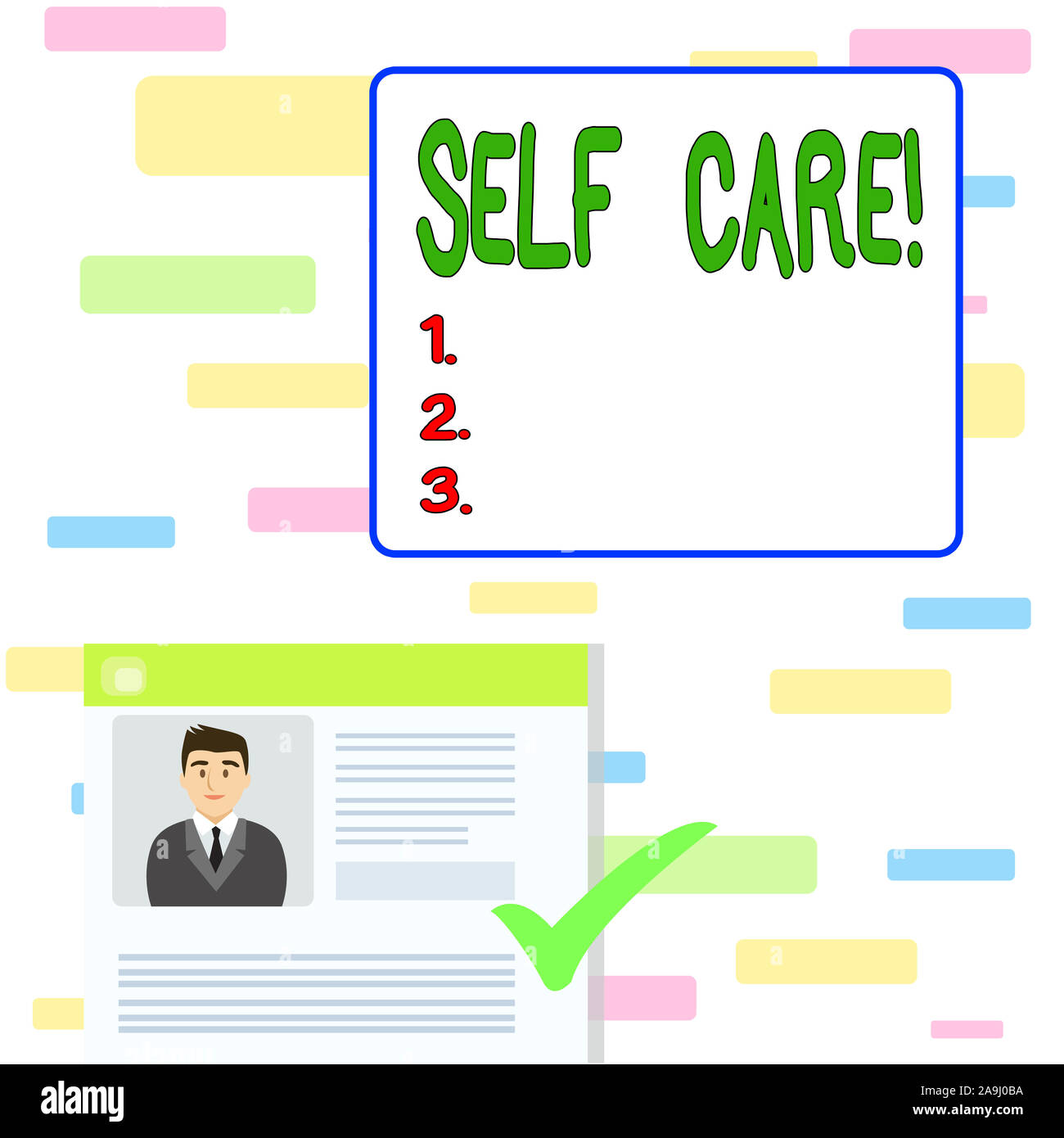 Writing note showing Self Care. Business concept for practice of taking action to preserve or improve ones own health Curriculum Vitae Resume of Candi Stock Photo