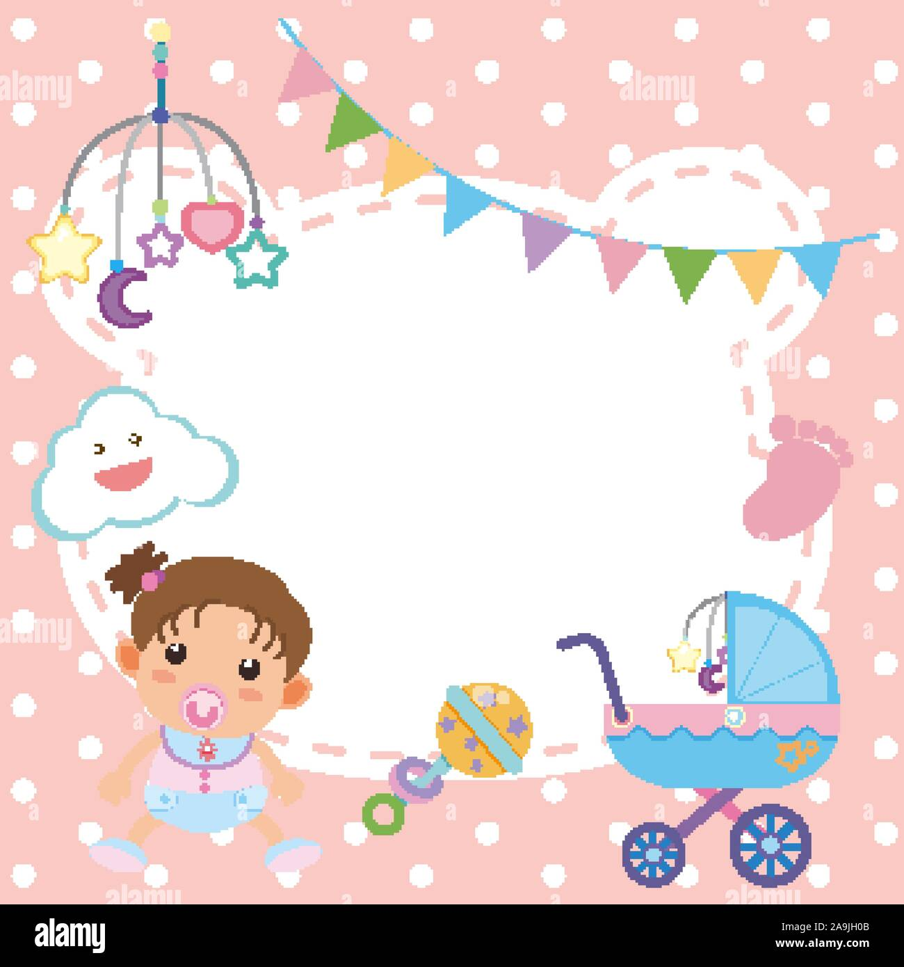 Frame template design with baby girl illustration Stock Vector