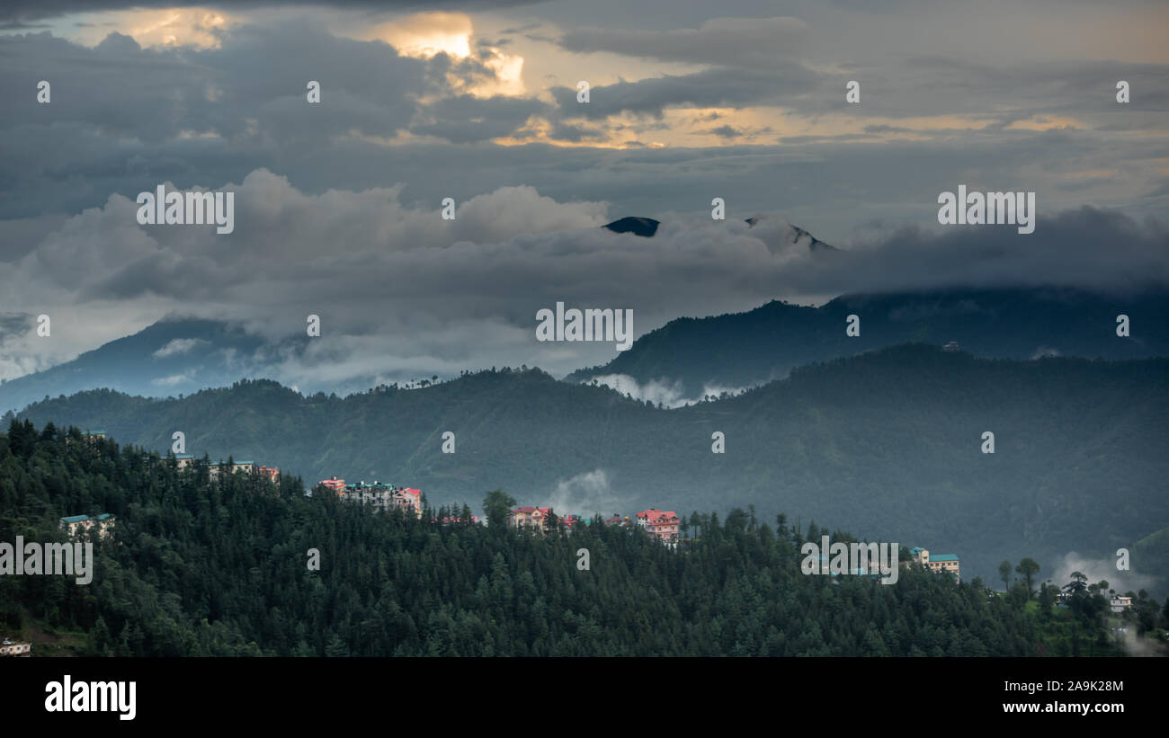 Misty mountains during the monsoon season in the Himalayas. Hills around Shimla, Himachal Pradesh, India Stock Photo