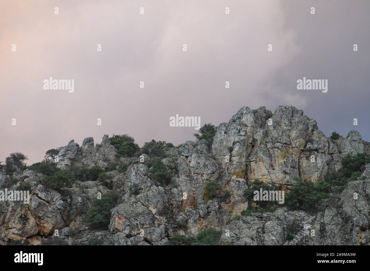 Rocky landscape in Sierra Madrona natural park, Ciudad real province, southern Spain Stock Photo