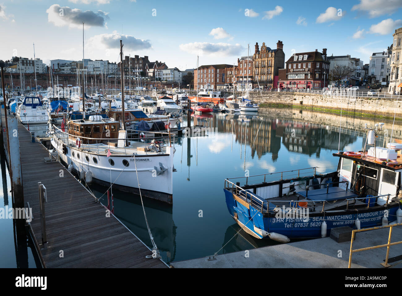 """Ramsgate, England - Nov 10 'Sundowner' in Ramsgate Royal Harbour . This boat participated in the Dunkirk evacuation as one of the """"little ships"""". Stock Photo"""