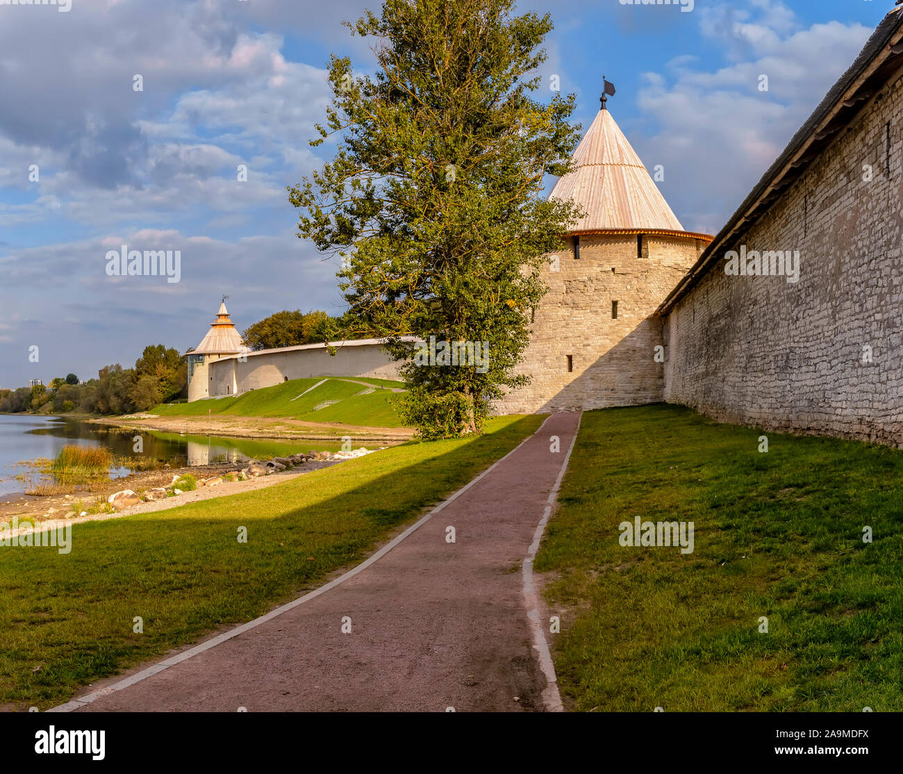 Russia, Pskov. September 20, 2019 Pskov Krom (Kremlin), historical and architectural center of Pskov. It is located on a narrow and high promontory at Stock Photo