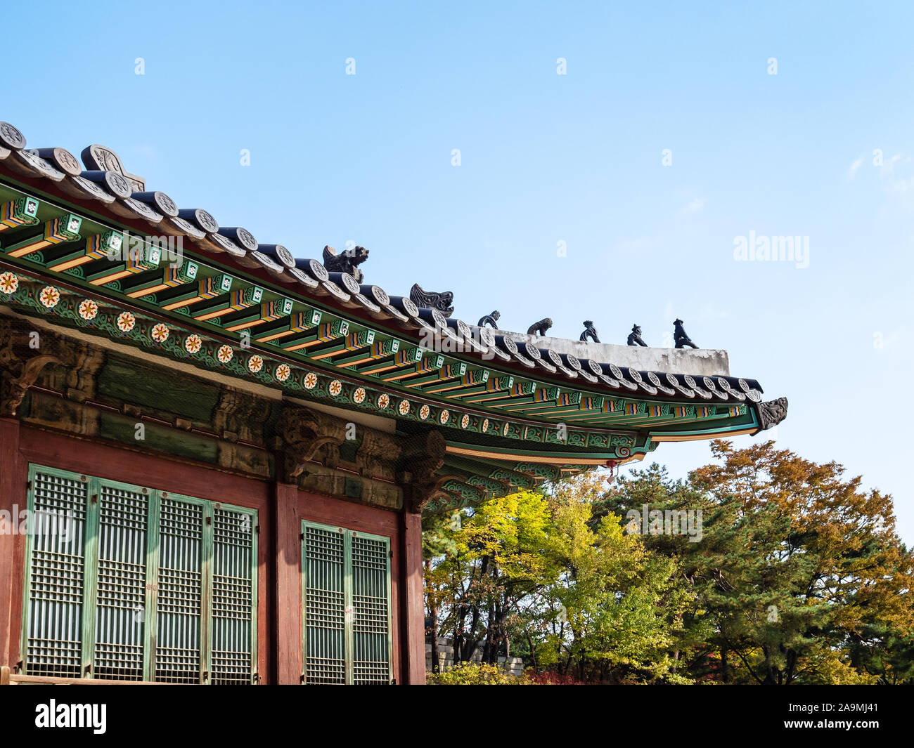 Seoul South Korea October 31 2019 Decor Of Roof On Hall In Changgyeong Palace In Seoul City The Palace Was Built In The Mid 15th Century And It Stock Photo Alamy