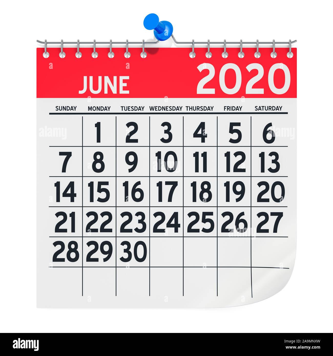 calender of june 2020