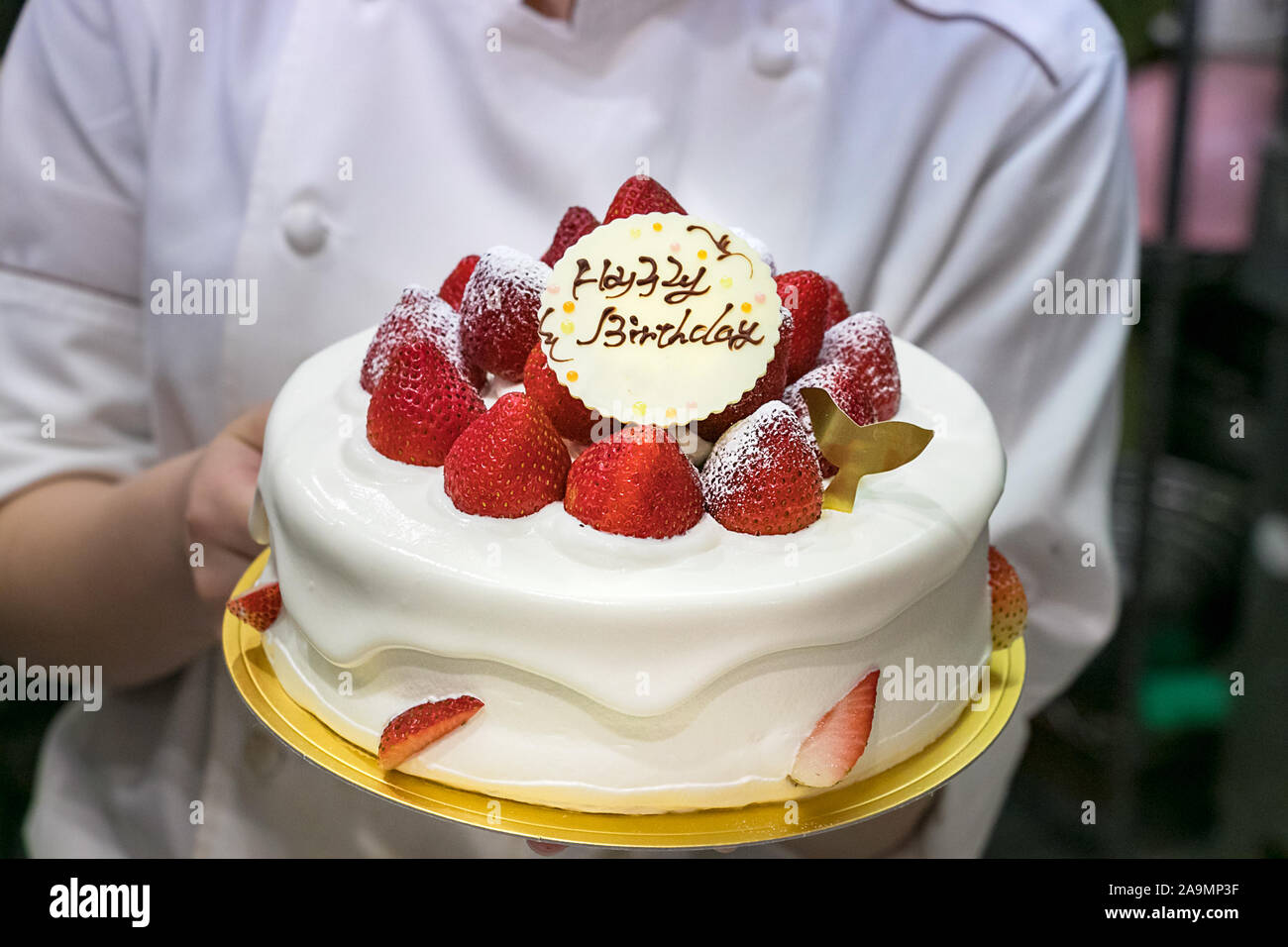 Fantastic Female Pastry Chef Hands Showing A Birthday Cake Decorated With Personalised Birthday Cards Petedlily Jamesorg
