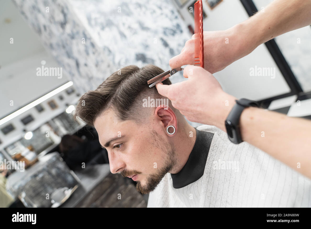 Haircut In A Hairdresser New Haircut Style Stock Photo Alamy