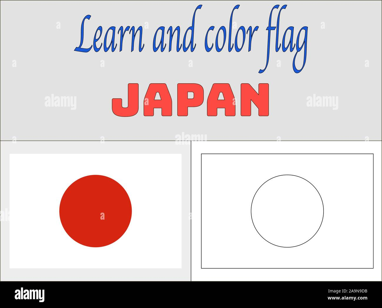 Japan National flag Coloring Book pages for Education and learning. original colors and proportion. vector illustration, from countries set. Stock Vector