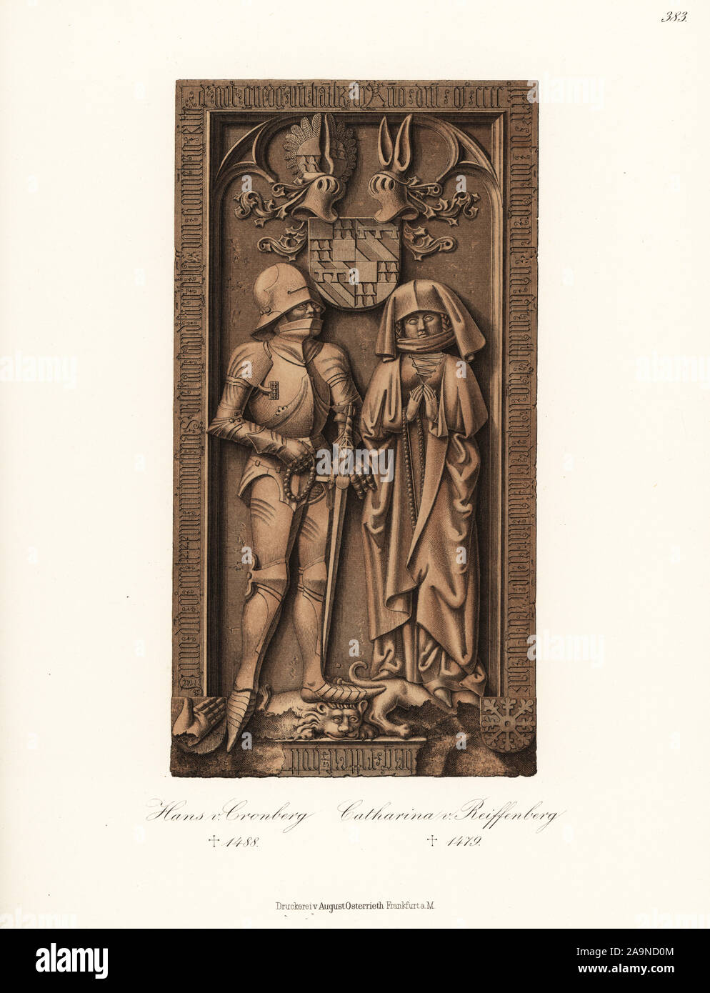 Sir Johann VI Hans von Kronberg (died 1488) and his wife Katharina von Reifenberg. From the grave effigy in St. Johann Church, Kronberg im Taunus, Hessen Germany. Chromolithograph from Hefner-Alteneck's Costumes, Artworks and Appliances from the Middle Ages to the 17th Century, Frankfurt, 1889. Dr. Hefner-Alteneck (1811 - 1903) was a German museum curator, archaeologist, art historian, illustrator and etcher. Stock Photo